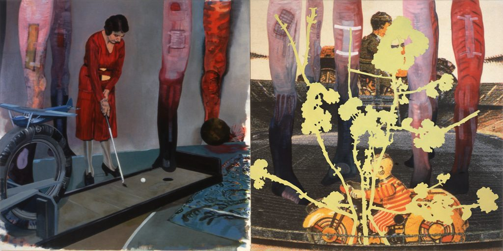 10. Midget Golf, 1997-2004, acryl/tempera/oil/print/canva, 200 x 400 cm