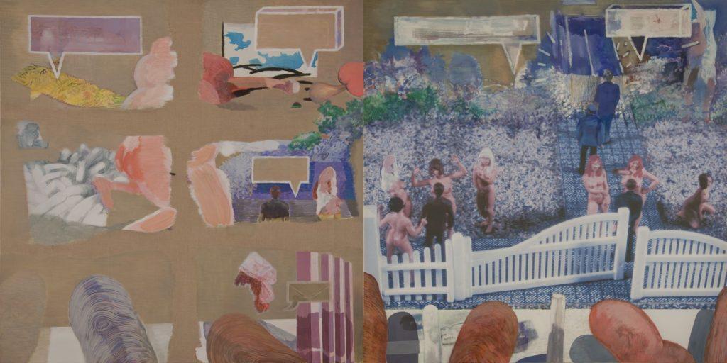 15. The Naturists, 2004-2006, acrylic/tempera/print/canvas, 200 x 400 cm