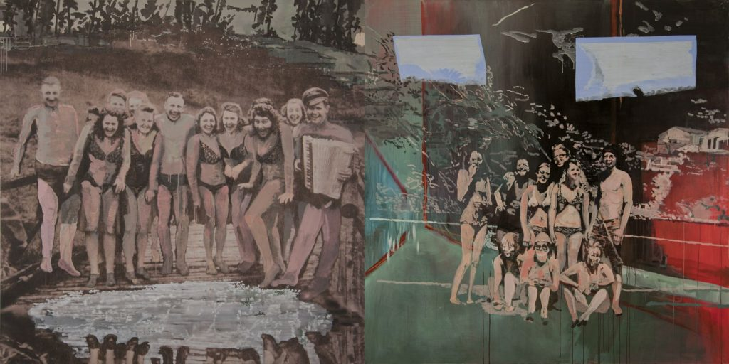 17. A Day off in the Country, 2009-2010, acrylic/tempera/print/canvas, 200 x 400 cm