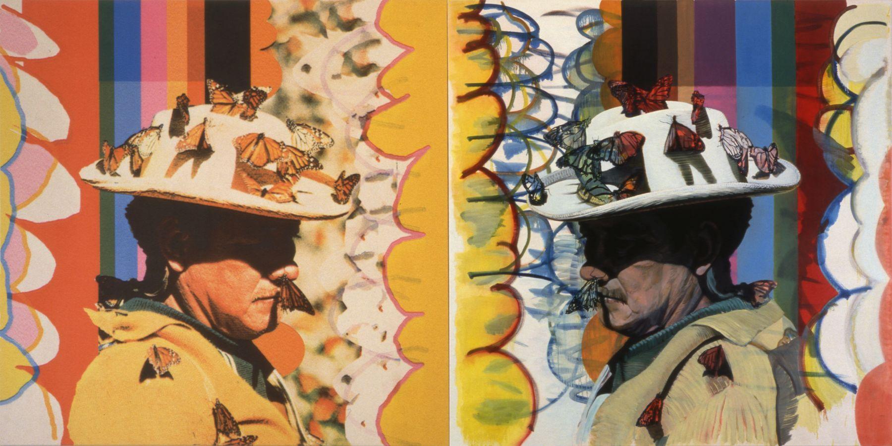 18. God Dog, 1997-1998, acrylic/tempera/oil/print/canvas, 200 x 400 cm
