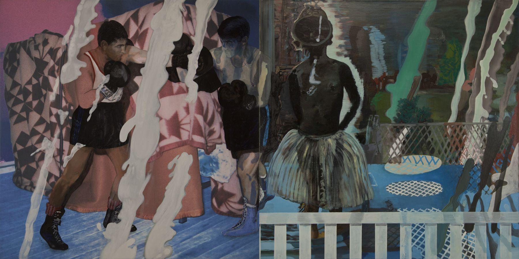21. Milkyway, 2003-2004, acrylic/tempera/oil/print/canvas, 200 x 400 cm