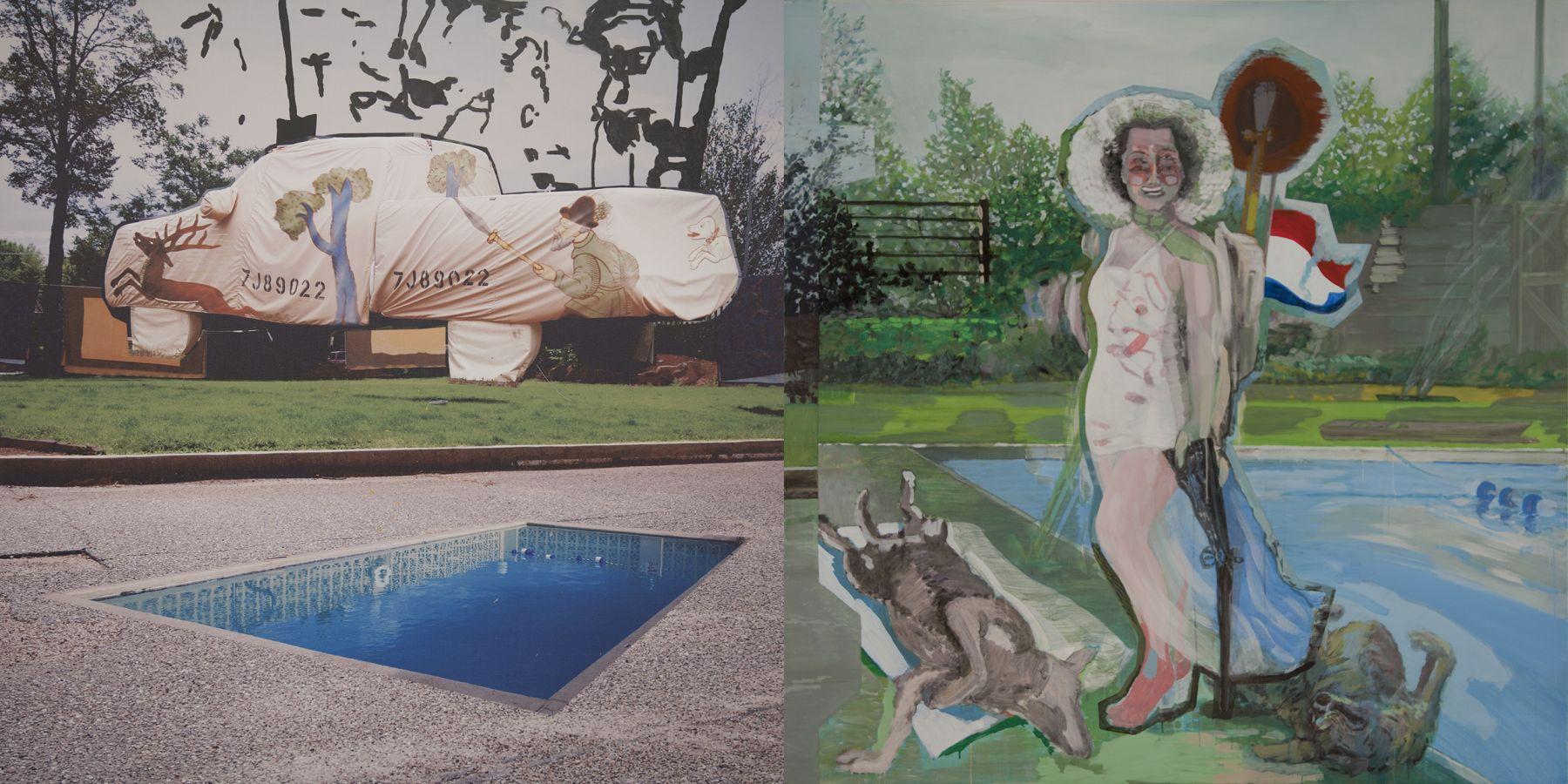 24. Hunted, 2009-2010, acrylic/tempera/oil/print/canvas, 200 x 400 cm