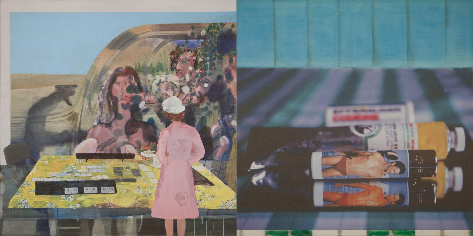 26. A Game, 2006-2008, acrylic/tempera/oil/print/canvas, 200 x 400 cm
