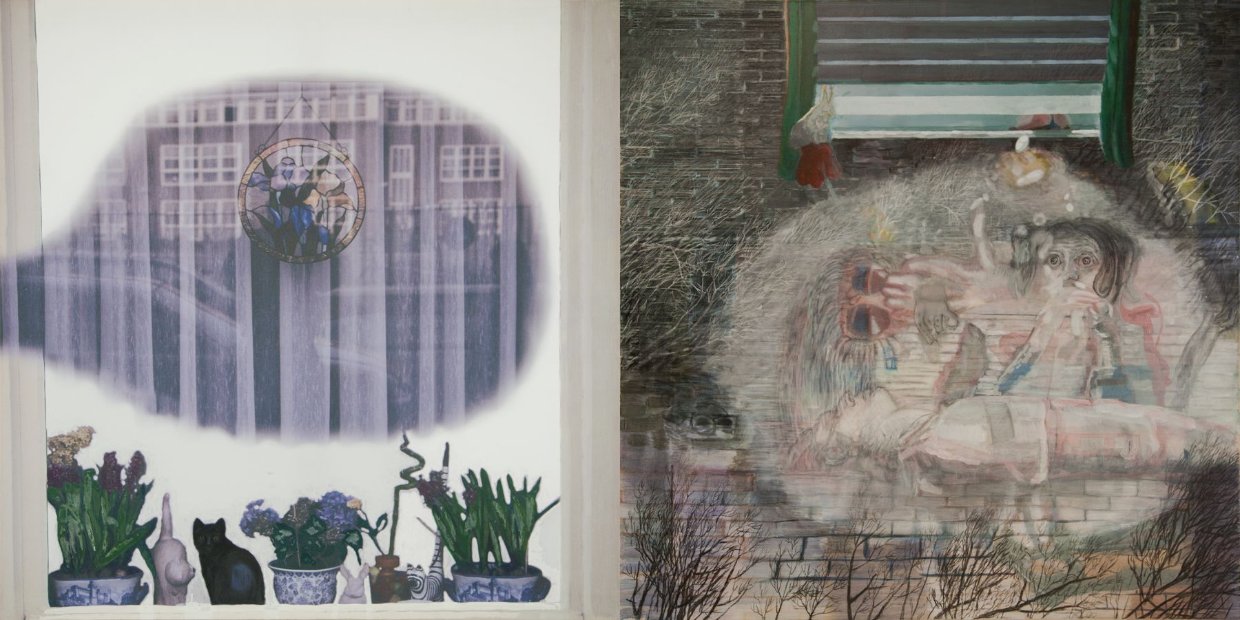 28. The Smoke Curtain, 2006-2007, charcoal/acrylic/tempera/oil/print/canvas, 200 x 400 cm