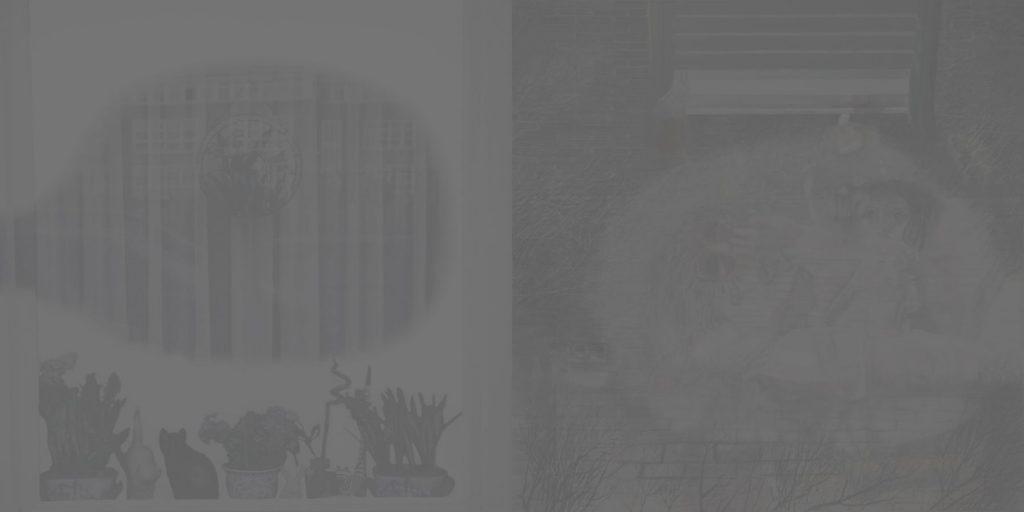 28. The Smoke Curtain, 2006-2007, charcoal/acrylic/tempera/oil/print/canvas, 200x400cm (grey)