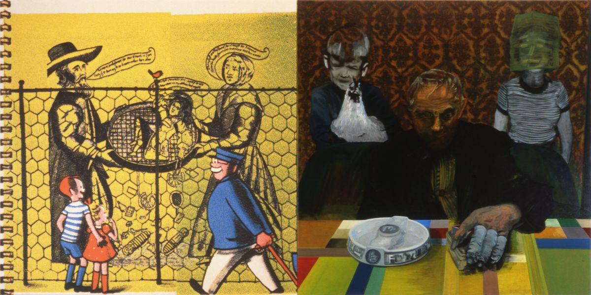 2. Familiar, 1997, acrylic/tempera/oil/print/canvas, 200 x 400 cm