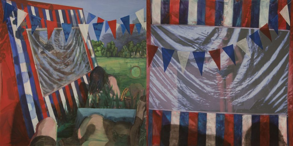 30. Camping B. 2006-2009, acrylic/oil/print/canvas, 200 x 400 cm
