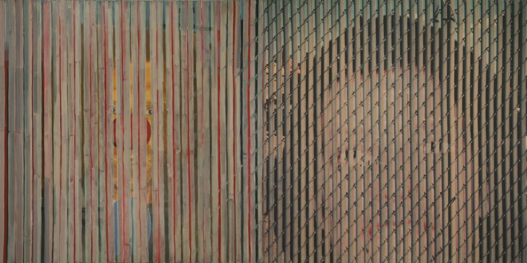 7. Double, 2002-2003, acrylic/tempera/oil/print/canvas, 200 x 400 cm