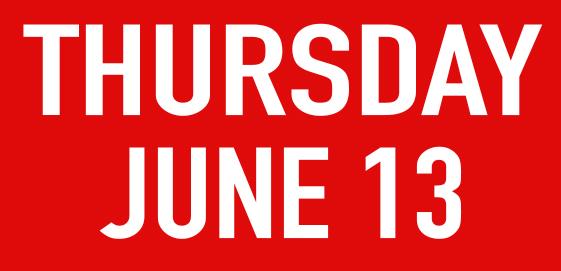 Thursday june 13